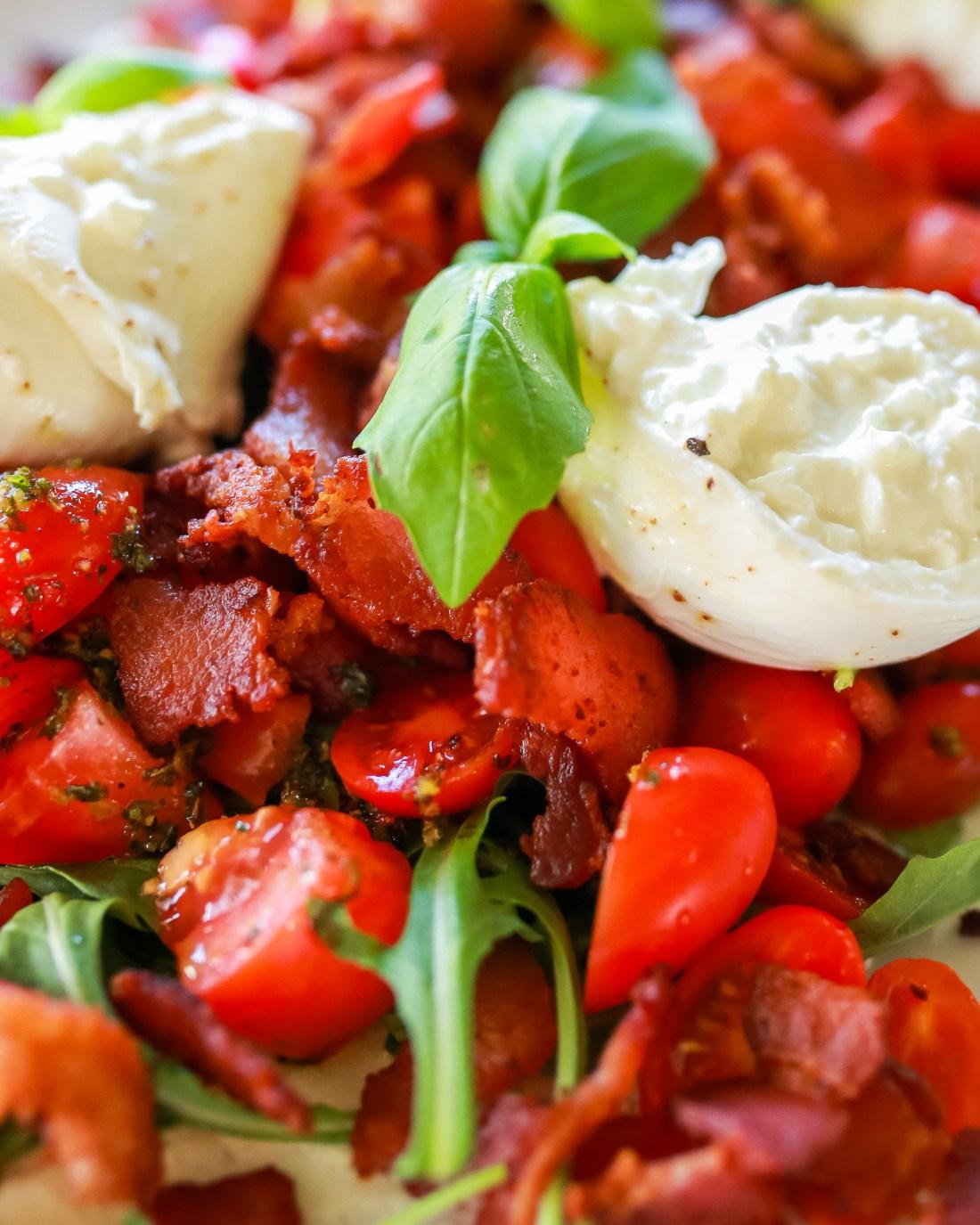 Basil Chimichurri on BLT salad