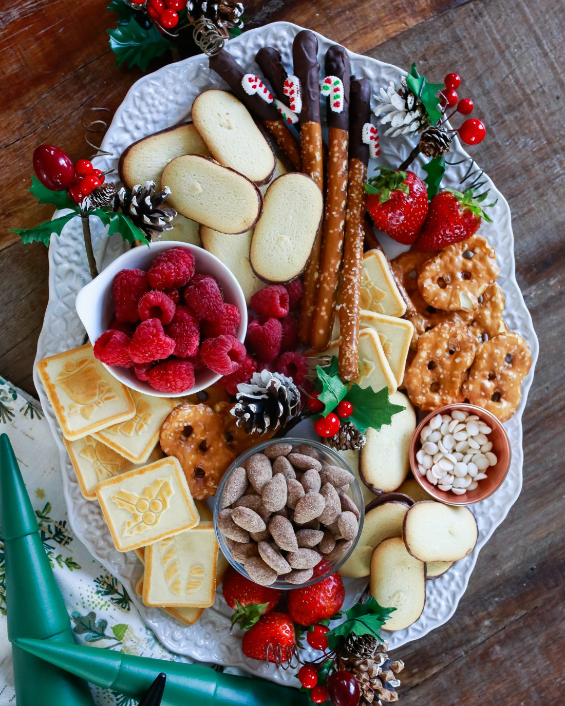 "The ultimate holiday ""charcuterie"" treat board. All good things combined to make one simple delightful tray of holiday cheer."