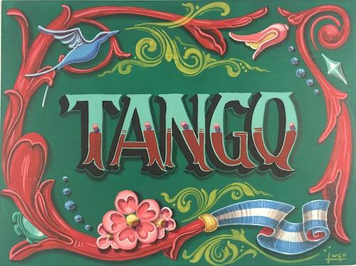 tango muenchen- handbemaltes holzschild