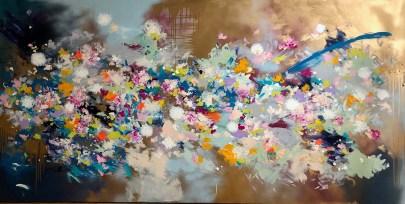 Juliane Golbs | 187 I 2018, 180 x 100 cm, Acryl, Lack, Goldcreme auf Leinwand