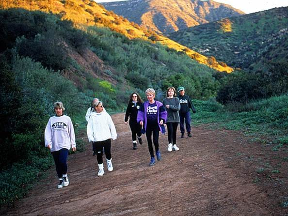 hiking group on trail