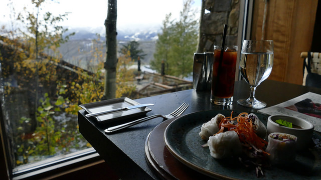aman resort, amangani, jackson hole, wyoming, usa, travel destination, hotel, luxury, restaurant, view, asian food, spring rolls