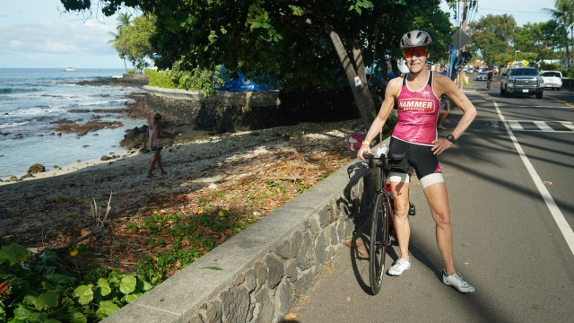 Kona, Hawaii, triathlete, Ironman, bicycle, debra weier, pose