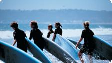 A teen surfing class at the Del.