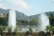 The fountains in the city square