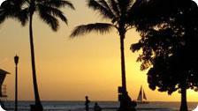 Sunset at a Waikiki Beach, Hawaii