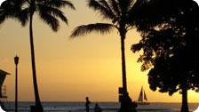 Sunset at a Waikiki Beach, Hawaii