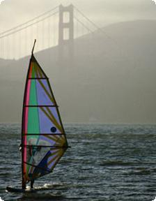 Windsurfing by Golden Gate bridge