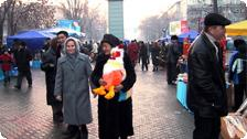 A City Street in Almaty, New Year's Eve.
