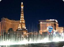 The fountains in front of the Bellagio