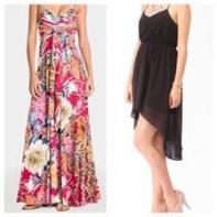 Floral Maxi dress & Black Hi-Low dress
