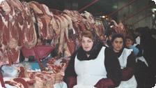 Women Selling Meat in the Green Market.