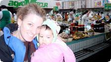 Genice and Jiana at the Green Market.