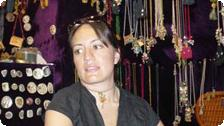 Florencia trying on jewelry