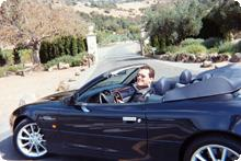 Tim driving in Napa