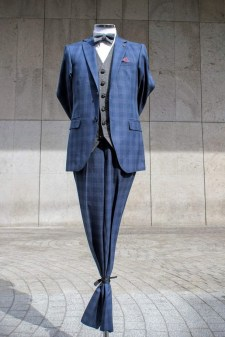 Navy Check with Tweed Waistcoat as shown €120