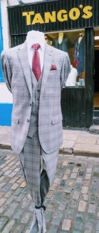 Burgundy & Grey Check 3 Piece as Shown €120