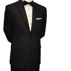 Single button black tie suit with Marcella shirt €85
