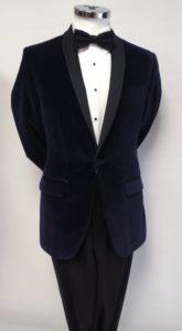 Navy Velvet Tuxedo with Shawl Collar
