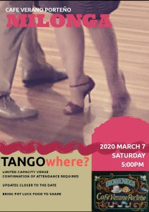 [T?] Pop-up Outdoor Afternoon Milonga at Cafe Verano Porteño @ Please contact us for details