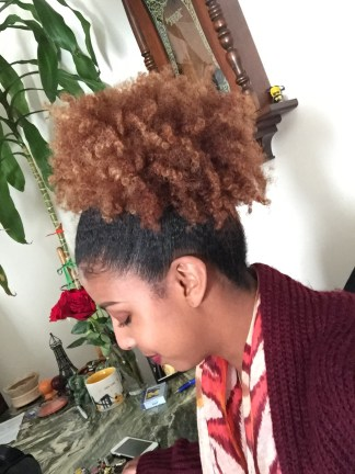 Checking the side view of my puff.