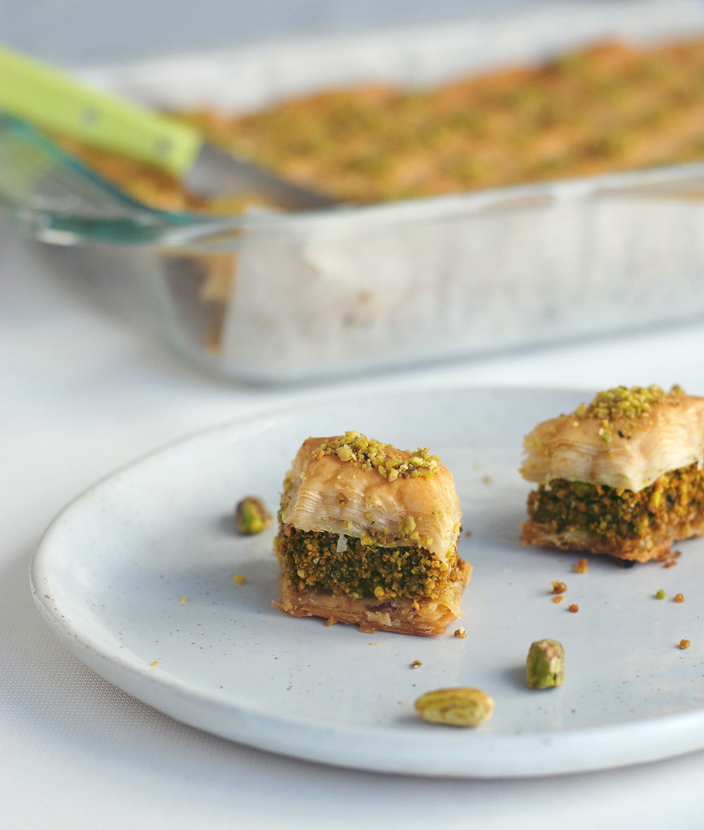 Pistachio Baklava cross section diamond shape