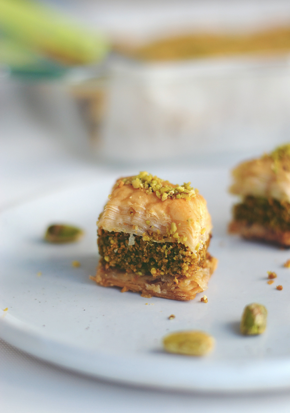 Pistachio Baklava cross-section filling