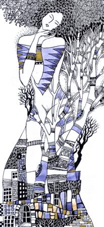 """Grafik """"Winter"""", Aquarell, Gelschreiber, Papier"""