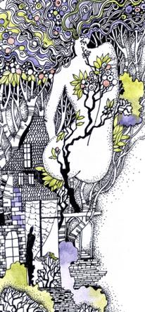 """Grafik """"Frühling"""", Aquarell, Gelschreiber, Papier"""