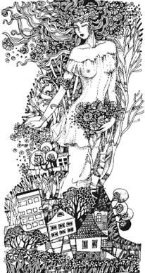 "Grafik ""Frühling über der Stadt"", Gelschreiber, Papier"