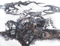 """Grafik """"Winter"""", 50X70, Aquarell, Gelschreiber, Papier"""