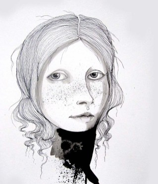 Hannah 10.8 x 14.8 inches, pen-ink