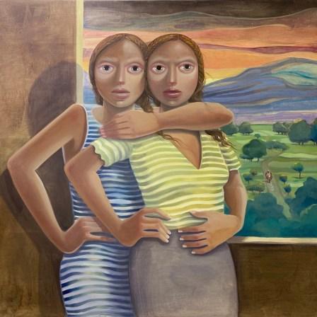 Las Hermanas Cibaeñas, oil on wood, 48 x 48 inches, 2020