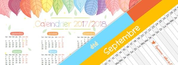 Divers calendriers pour l'année scolaire 2017/2018
