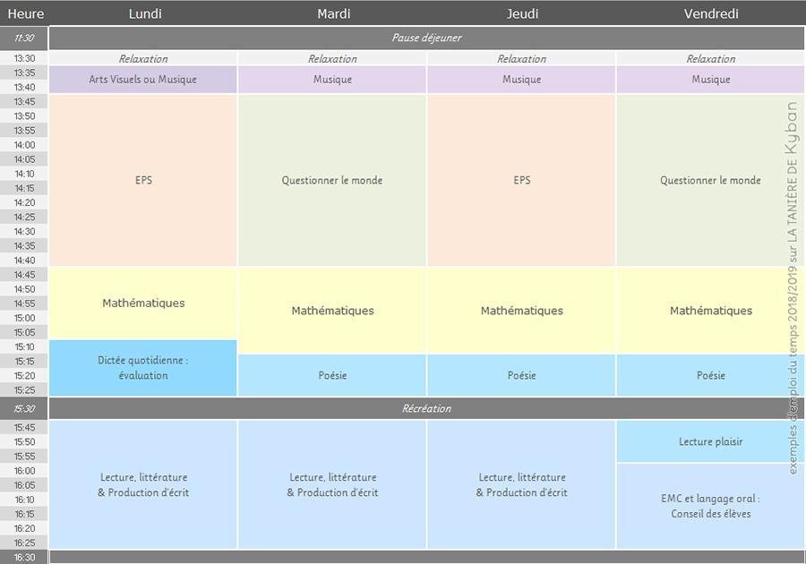 Emploi du temps 2018/2019 - CE1 et CE2 - après-midi