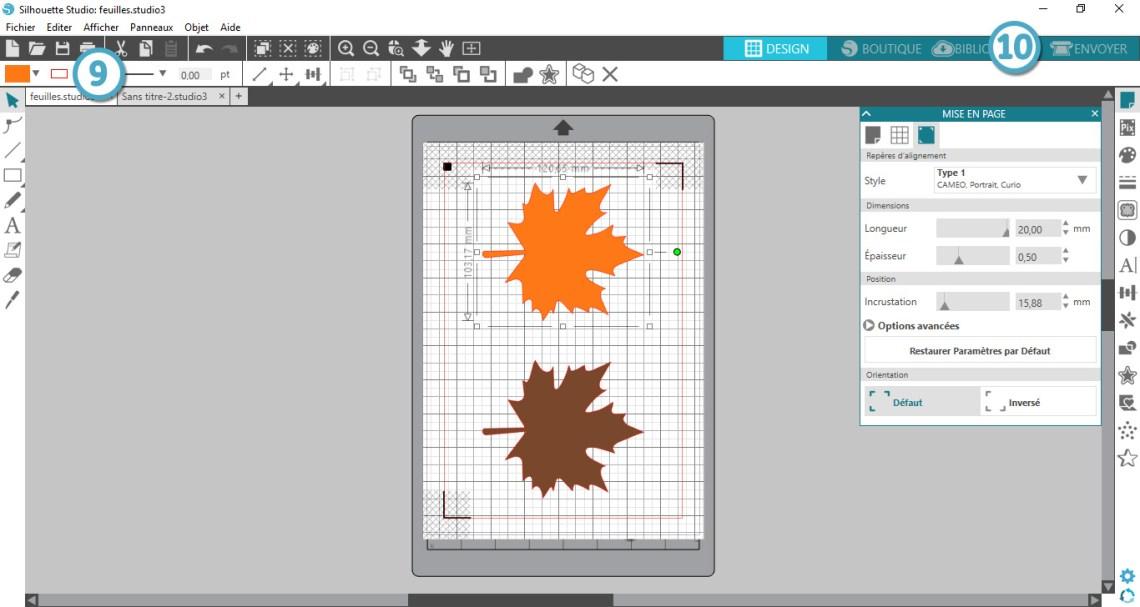 Silhouette studio - éditeret imprimer le modèle
