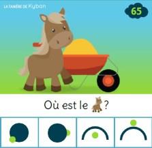 Carte à pince sur le thème de la ferme - Le cheval est devant la brouette