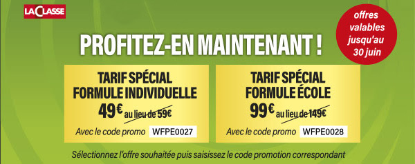 Jusqu'au 30 juin : formule individuelle à 49 € au lieu de 59 € avec le code WFPE0027et formule école à 99 € au lieu de 149 € avec le code promo WFPE0028