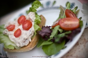 Spicy crab spread with a small spring salad.