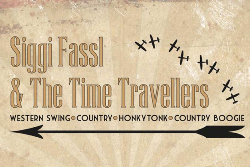 """Schriftzug von der Band """"Siggi Fassl & The Time Travellers"""""""