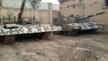 Syrian T-72 tanks with slat armor