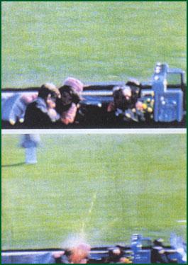 Kennedy träffas, från Zapruderfilmen (notera de höjda armarna i första kortet)