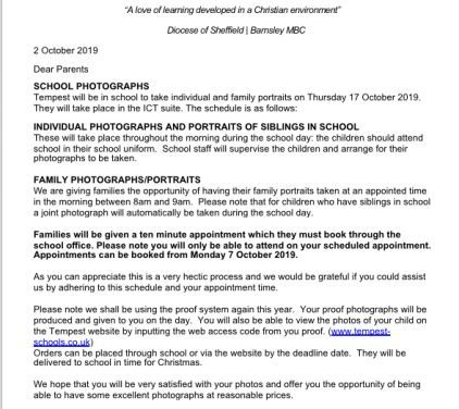 School Photographs Letter