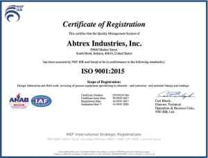Abtrex ISO9001:2015 Certification