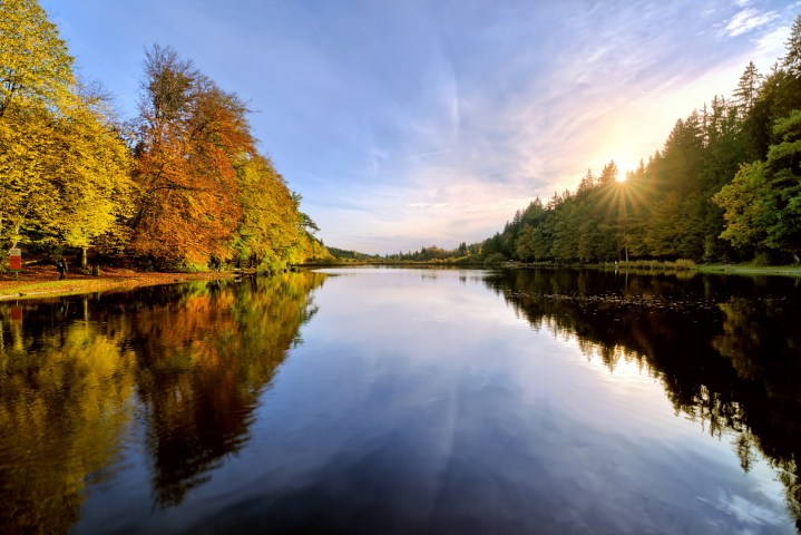 Sunset on Lake in Autumn Forest
