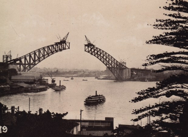 Construction of Sydney Harbour Bridge - looking from Lavender Bay c. 1931