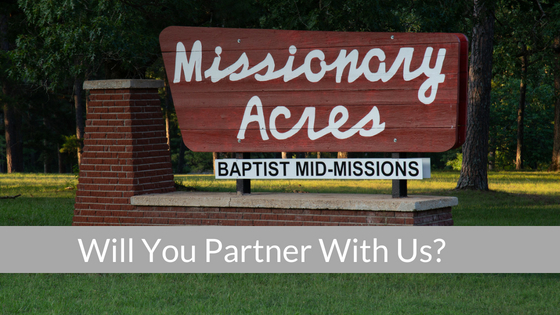 A picture of Missionary Acres with the words would you partner with us?