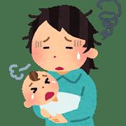 赤ちゃんが泣きやまずに、クタクタになるお母さん