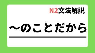 N2文法解説「~のことだから」