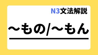 N3文法解説「~もの/~もん」